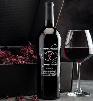 Two Hearts Personalized Wine Bottle