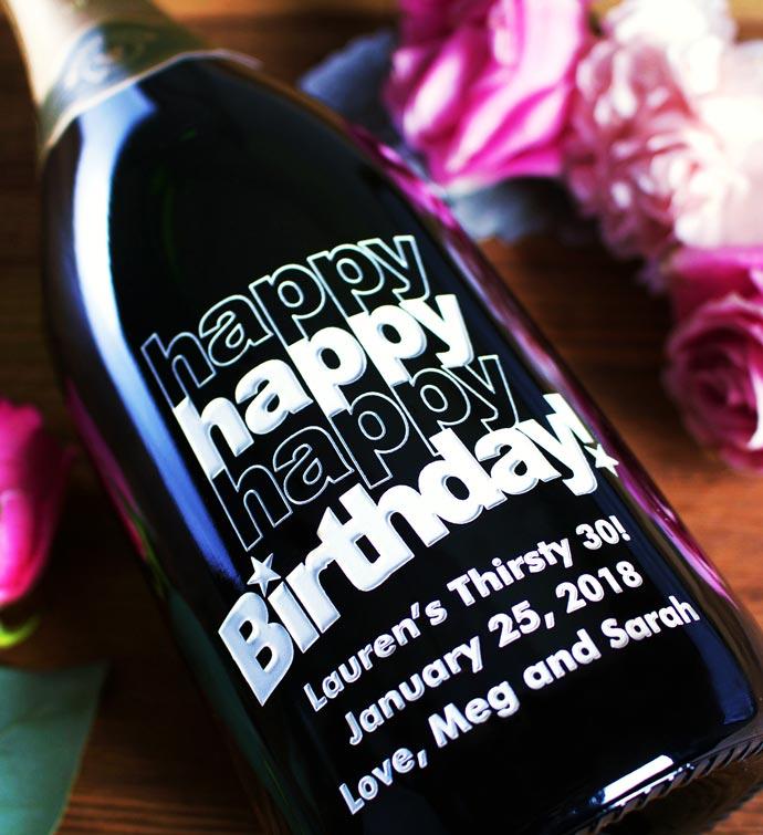 triple happy birthday personalized wine bottle personalization universe