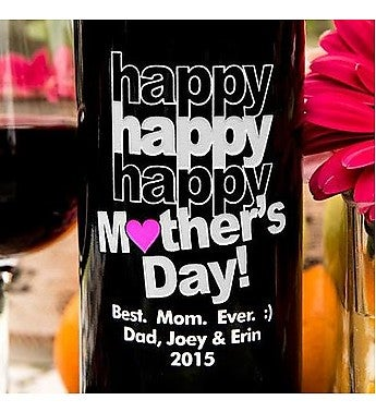 Triple Happy Mother's Day Personalized Wine Bottle