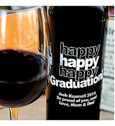 Triple Happy Graduation Personalized Wine Bottle