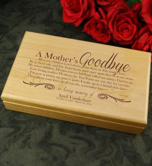 A Mother's Goodbye Alder Keepsake Box
