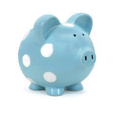PERSONALIZED HAND-PAINTED BLUE PIGGY BANK WITH WHITE DOTS