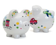 PERSONALIZED HAND-PAINTED CHOO CHOO PIGGY BANK