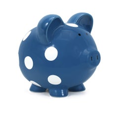 PERSONALIZED HAND-PAINTED COLOR PIGGY BANK WITH WHITE DOTS