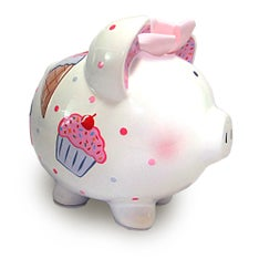 PERSONALIZED HAND-PAINTED CUPCAKE PIGGY BANK