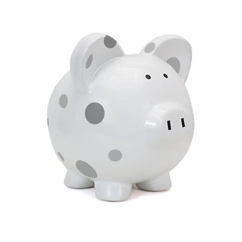 Personalized Hand-Painted Gray Polka Dot Piggy Bank