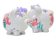 PERSONALIZED HAND-PAINTED MERMAID PIGGY BANK