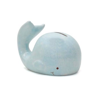 Personalized Hand-Painted Mini Whale Bank - Blue