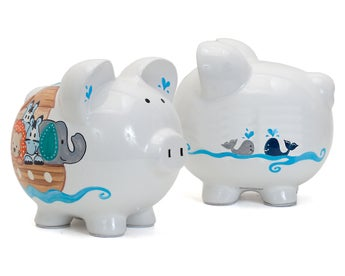 Personalized Hand-Painted Noah's Ark Piggy Bank