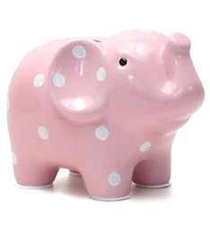 Personalized Hand-Painted Pink Polka Dot Elephant Bank