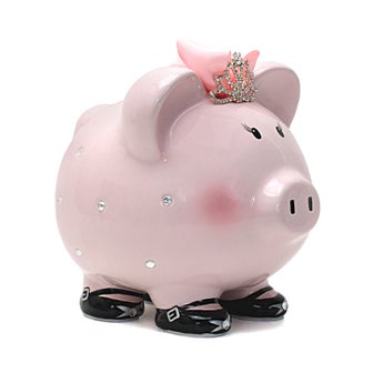 Personalized Hand-Painted Princess Crown Piggy Bank