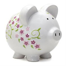 PERSONALIZED HAND-PAINTED SHABBY CHIC PIGGY BANK