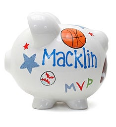 Personalized Hand-Painted Sports Piggy Bank