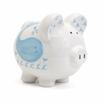 Personalized Hand-Painted Willy the Whale Piggy Bank