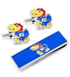 Kansas University jayhawks Cufflinks and Money Clip Gift Set