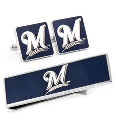 Milwaukee Brewers Cufflinks and Money Clip Gift Set