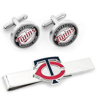 Minnesota Twins Cufflinks and Tie Bar Gift Set