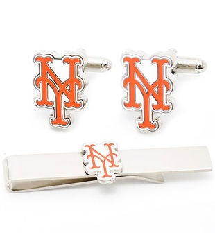 New York Mets Cufflinks and Tie Bar Gift Set