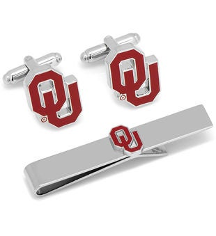 Oklahoma University Cufflinks and Tie Bar Gift Set