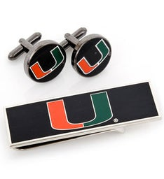 U of Miami Hurricanes Cufflinks and Money Clip Gift Set