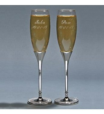 Personalized Glitter Galore Toasting Flutes