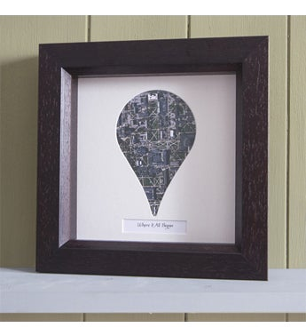 Personalized Pin Shaped Framed Aerial Map