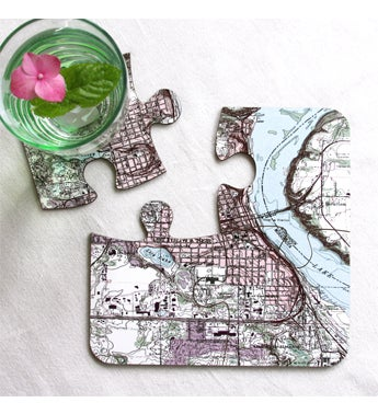 Personalized Vintage USGS Map Coasters - Set of 4