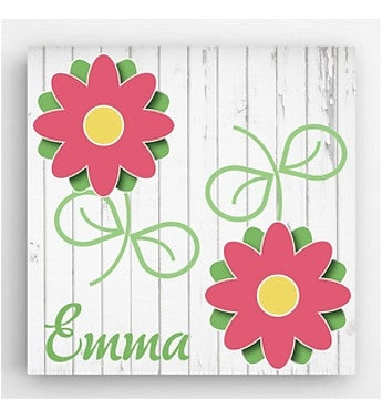 Personalized  x  Flower Kids Canvas Sign
