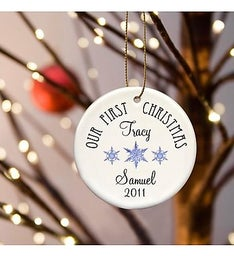 Personalized First Christmas Cermic Ornament