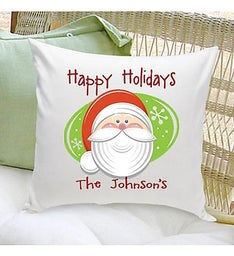 Personalized Holiday Santa Throw Pillow