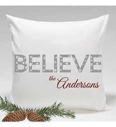 Personalized Believe Holiday Throw Pillow