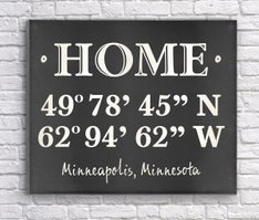 Custom Home Coordinates Canvas Print