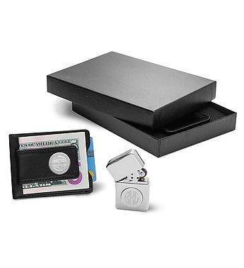 Engraved Black Leather Wallet & Chrome Lighter Set