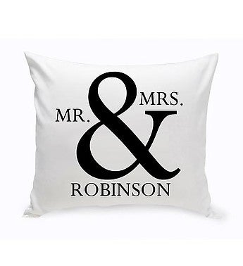 Personalized Mr & Mrs Throw Pillow