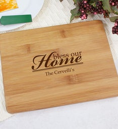 Engraved Bless Our Home Bamboo Cheese Board
