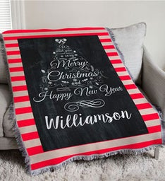 Personalized Chalkboard Christmas Tree Throw Blanket