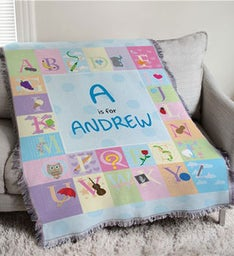 Embroidered Alphabet Throw For Baby Boy
