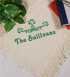 Embroidered Shamrock Green Irish Afghan Blanket