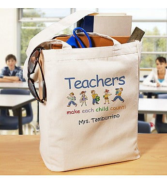 Make Each Child Count Personalized Canvas Teacher Tote Bag