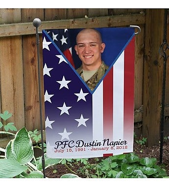 MILITARY PRIDE MEMORIAL PHOTO GARDEN FLAG