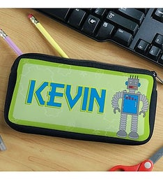 PERSONALIZED ROBOTS PENCIL CASE