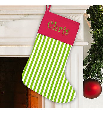 Embroidered Green Stripe Stocking