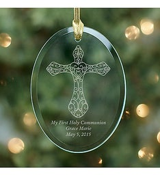 Engraved First Communion Cross Glass Ornament