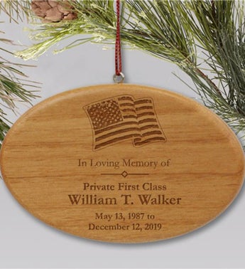 Engraved Military Memorial Ornament