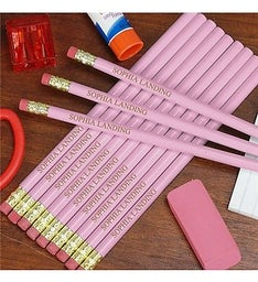 Personalized Pink School Pencils