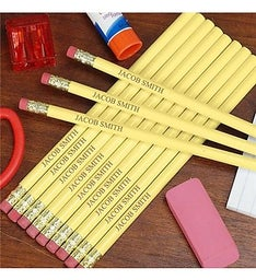Personalized Yellow School Pencils