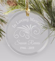 ENGRAVED MEMORIAL ROUND GLASS ORNAMENT