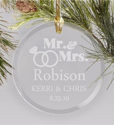 ENGRAVED WEDDING RINGS ORNAMENT