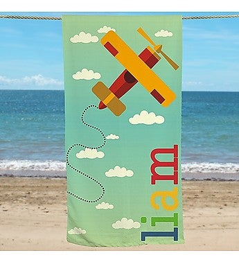 PERSONALIZED AIRPLANE BEACH TOWEL