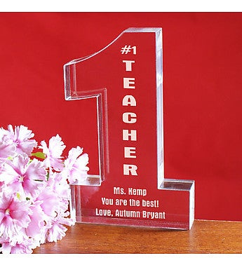 Engraved Number One Teacher Keepsake